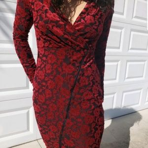 Red and black dress slim fitting